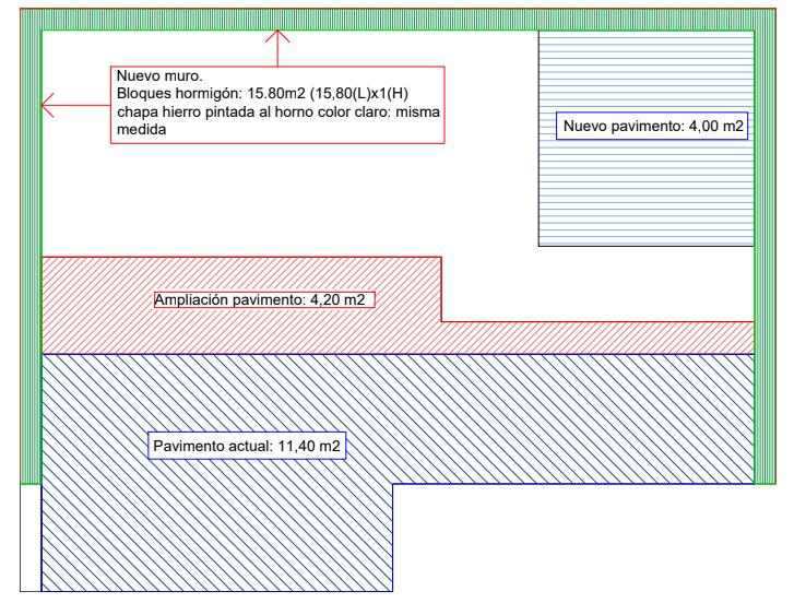 Plano con las mediciones de la construcción, detallando los nuevos trabajos hechos: nuevo muro y ampliación del pavimento.